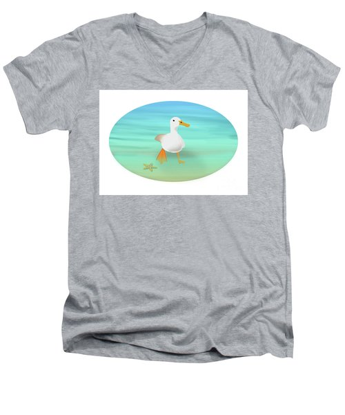 Duck Paddling At The Seaside Men's V-Neck T-Shirt