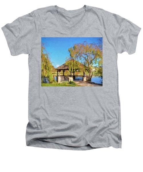 Duck Pond Gazebo At Virginia Tech Men's V-Neck T-Shirt