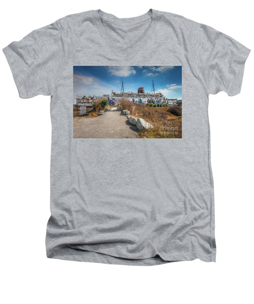 Men's V-Neck T-Shirt featuring the photograph Duke Of Lancaster Graffiti by Adrian Evans
