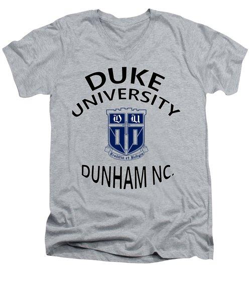 Duke University Dunham N C  Men's V-Neck T-Shirt by Movie Poster Prints