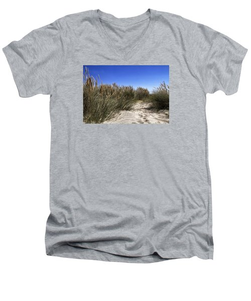 Men's V-Neck T-Shirt featuring the photograph Dune Grasses by Shirley Mitchell