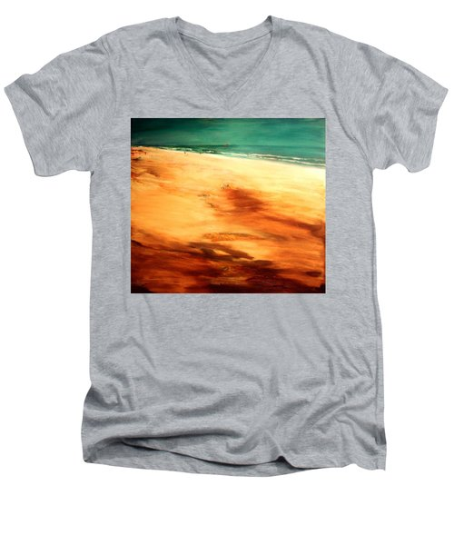 Men's V-Neck T-Shirt featuring the painting Dune Shadows by Winsome Gunning