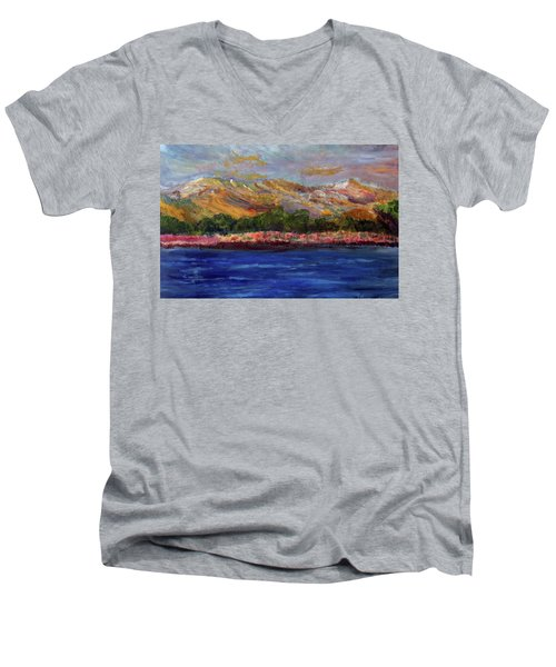 Men's V-Neck T-Shirt featuring the painting Dunes At Pilgrim Lake by Michael Helfen