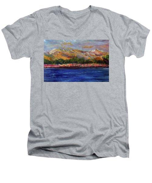 Dunes At Pilgrim Lake Men's V-Neck T-Shirt by Michael Helfen