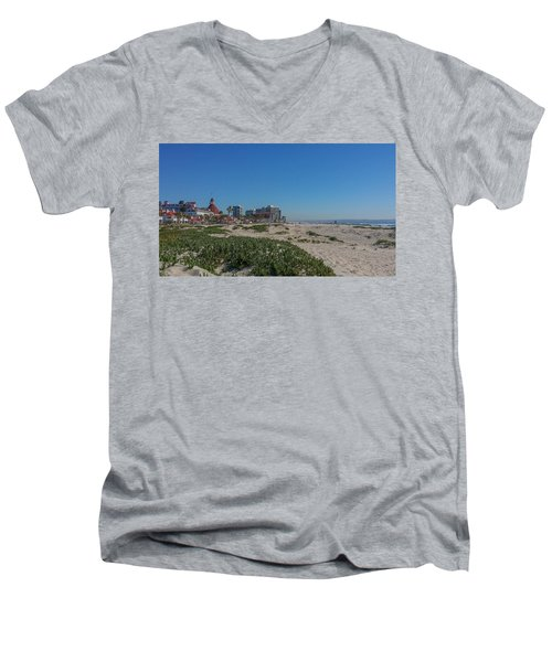 Dunes At The Del Men's V-Neck T-Shirt by Mark Barclay