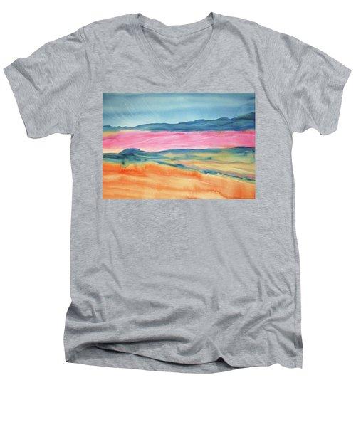 Men's V-Neck T-Shirt featuring the painting Dunes by Ellen Levinson