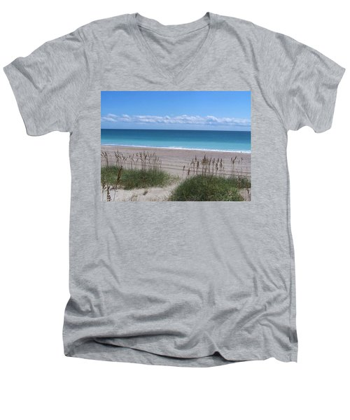 Men's V-Neck T-Shirt featuring the photograph Dunes On The Outerbanks by Sandi OReilly