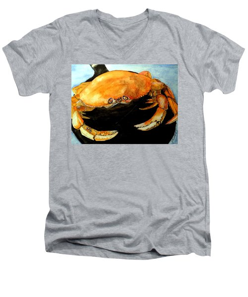 Men's V-Neck T-Shirt featuring the painting Dungeness For Dinner by Carol Grimes