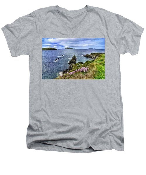 Dunquin Flowers  Men's V-Neck T-Shirt