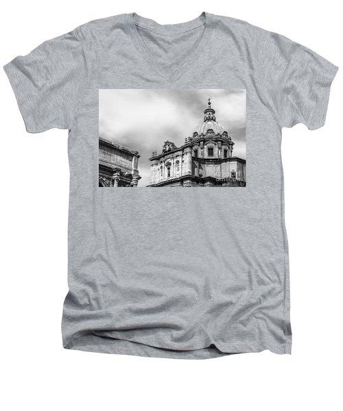 Duomo Of Santi Luca E Martina And Arch Of Septimius Severus  Men's V-Neck T-Shirt