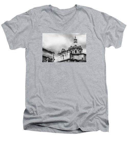 Duomo Of Santi Luca E Martina And Arch Of Septimius Severus  Men's V-Neck T-Shirt