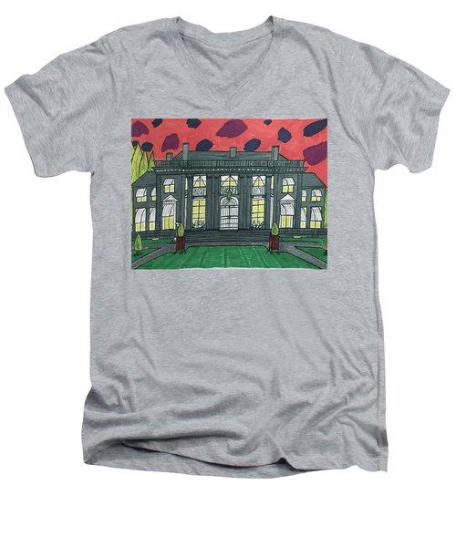 Dupont Family Mansion. Men's V-Neck T-Shirt by Jonathon Hansen
