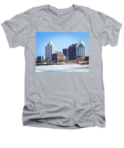 Durban Skyline From Bay Of Plenty Men's V-Neck T-Shirt