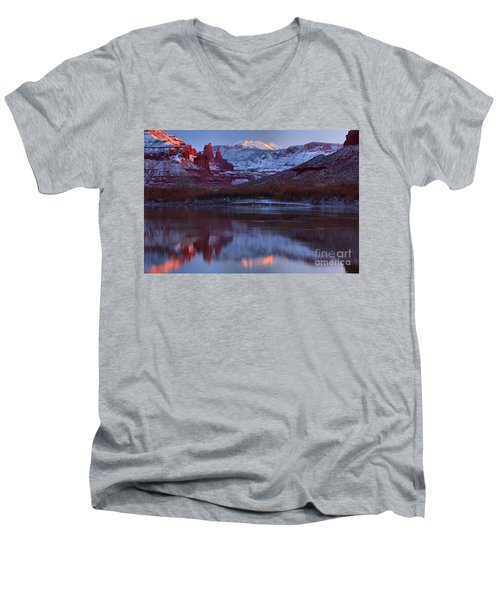 Men's V-Neck T-Shirt featuring the photograph Dusk At Fisher Towers by Adam Jewell