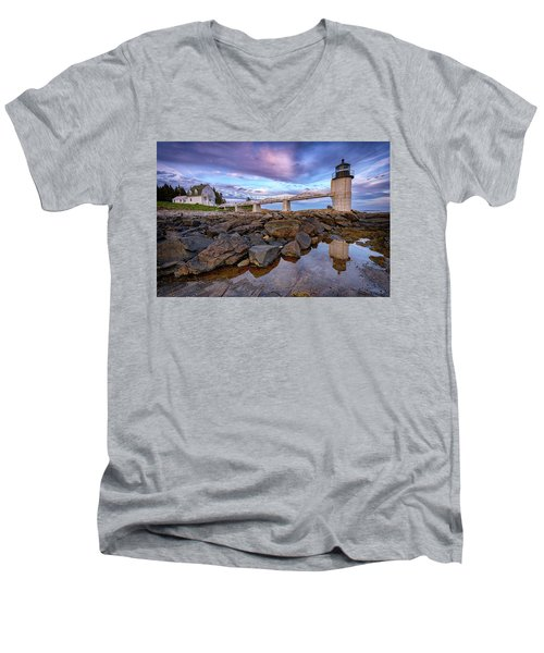 Men's V-Neck T-Shirt featuring the photograph Dusk At Marshall Point by Rick Berk