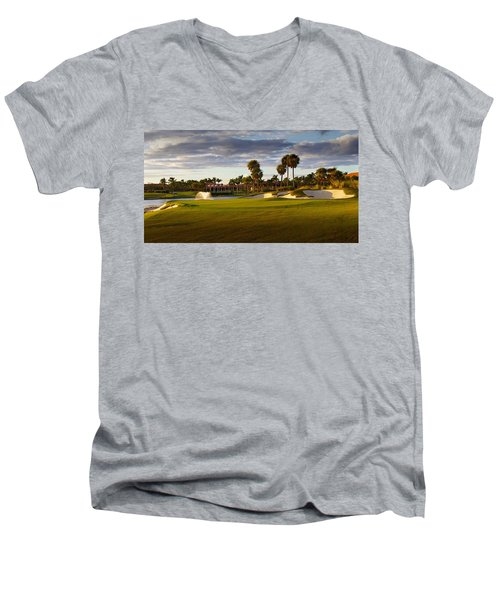 Dusk At P G A National Men's V-Neck T-Shirt