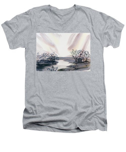 Dusk Creeping Up The River Men's V-Neck T-Shirt