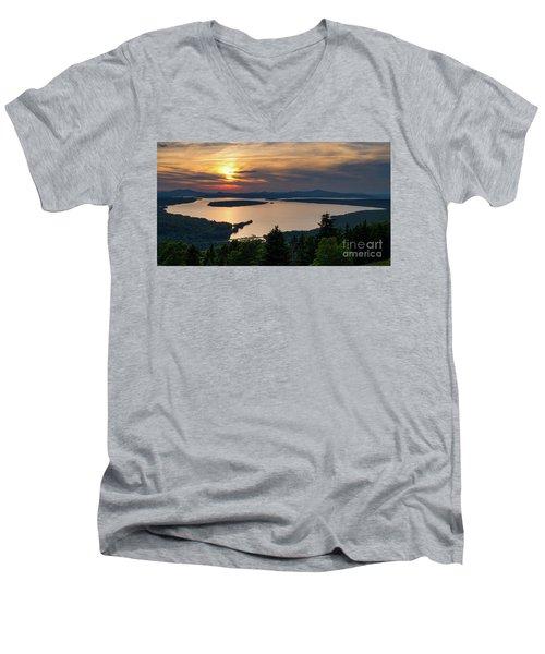 Men's V-Neck T-Shirt featuring the photograph Dusk, Mooselookmeguntic Lake, Rangeley, Maine -63362-63364 by John Bald