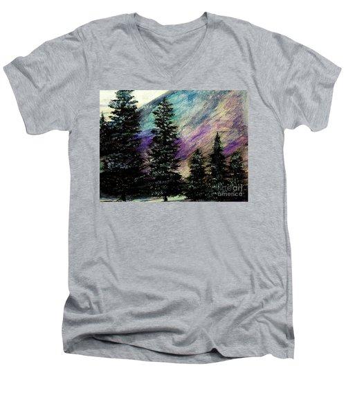 Dusk On Purple Mountain Men's V-Neck T-Shirt by Scott D Van Osdol