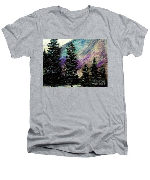 Dusk On Purple Mountain Men's V-Neck T-Shirt