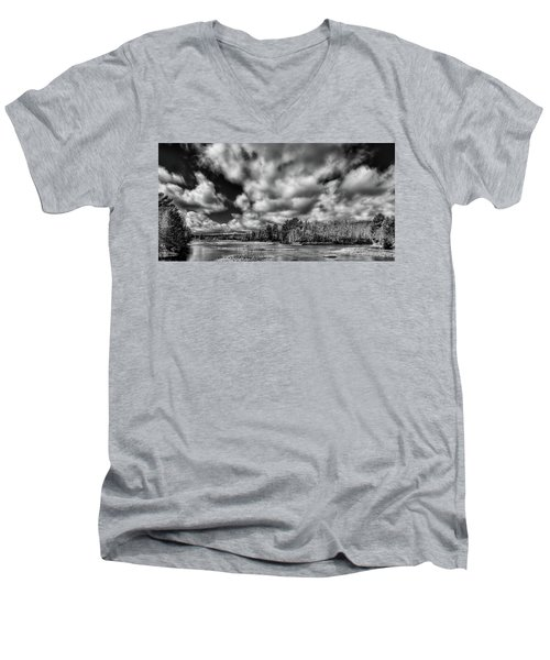 Men's V-Neck T-Shirt featuring the photograph Dusting Of Snow On The River by David Patterson