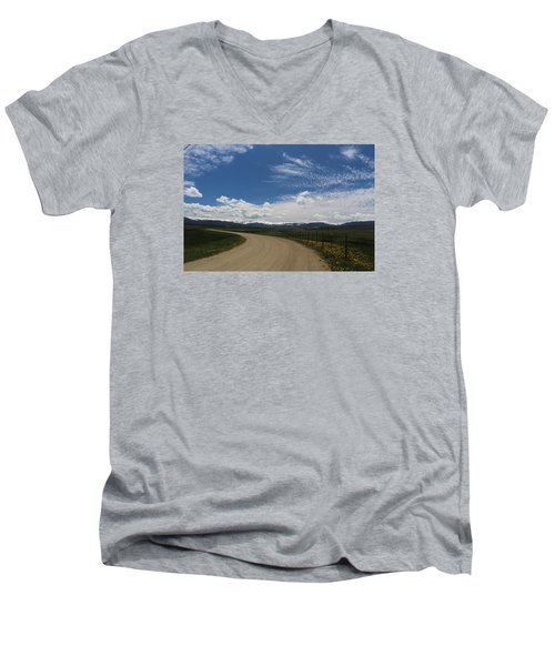 Dusty  Road Men's V-Neck T-Shirt by Suzanne Lorenz