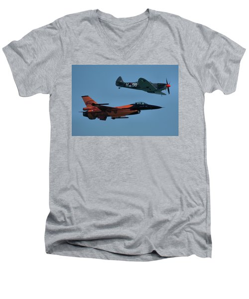 Dutch F-16 And Spitfire Men's V-Neck T-Shirt by Tim Beach