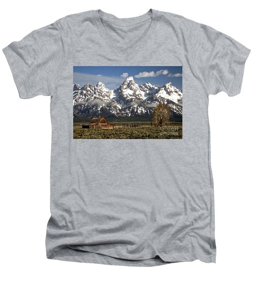 Dwarfed By The Teton Mountain Ange Men's V-Neck T-Shirt by Adam Jewell