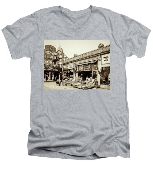 Men's V-Neck T-Shirt featuring the photograph Dyckman Theater, 1926 by Cole Thompson