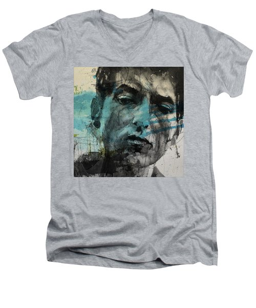 Dylan - Retro  Maggies Farm No More Men's V-Neck T-Shirt by Paul Lovering
