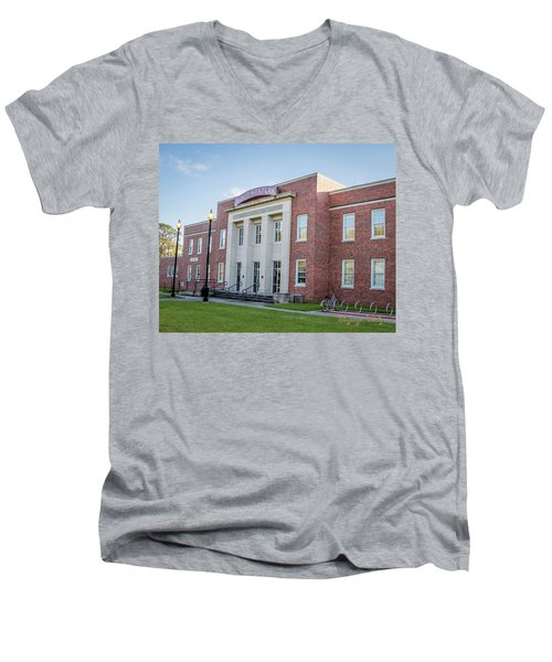 Men's V-Neck T-Shirt featuring the photograph E K Long Building by Gregory Daley  PPSA