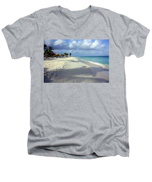 Men's V-Neck T-Shirt featuring the photograph Eagle Beach Aruba by Suzanne Stout