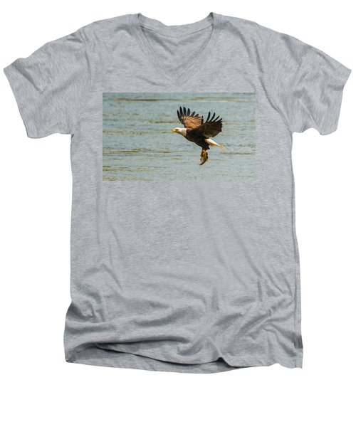 Eagle Departing With Prize Close-up Men's V-Neck T-Shirt