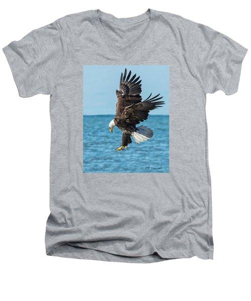 Eagle Dive Men's V-Neck T-Shirt by CR  Courson