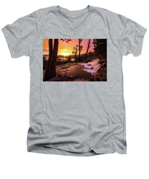Men's V-Neck T-Shirt featuring the photograph Eagle Falls Sunrise by Wesley Aston