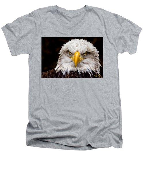 Defiant And Resolute - Bald Eagle Men's V-Neck T-Shirt