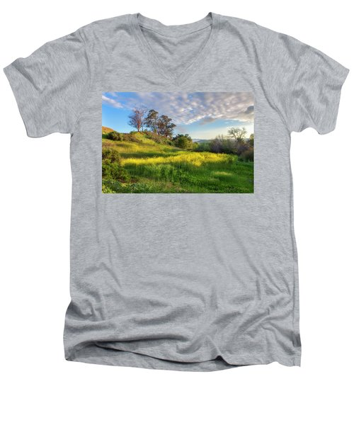 Men's V-Neck T-Shirt featuring the photograph Eagle Grove At Lake Casitas In Ventura County, California by John A Rodriguez