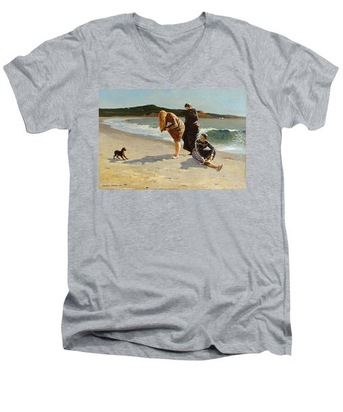 Men's V-Neck T-Shirt featuring the painting Eagle Head, Manchester, Massachusetts - 1870 by Winslow Homer