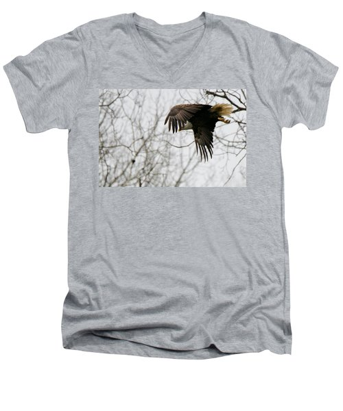 Eagle In Flight Men's V-Neck T-Shirt by Michael Peychich