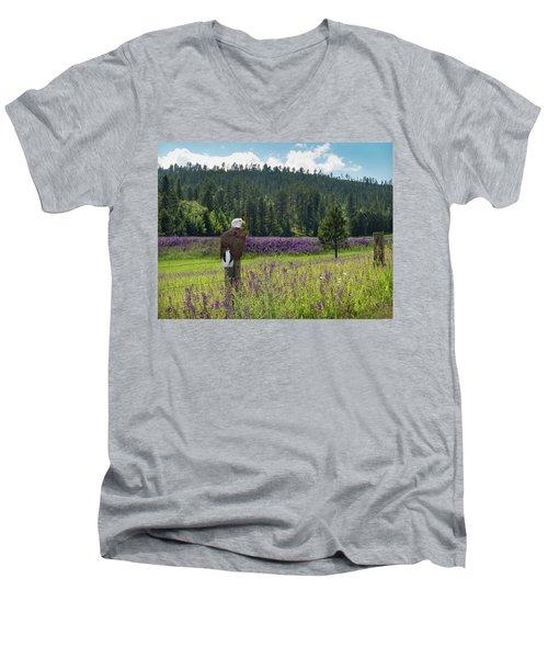 Eagle On Fence Post Men's V-Neck T-Shirt