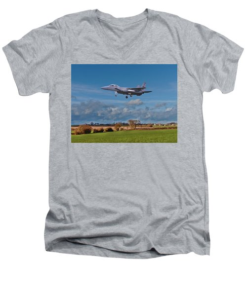 Men's V-Neck T-Shirt featuring the photograph Eagle On Finals by Paul Gulliver