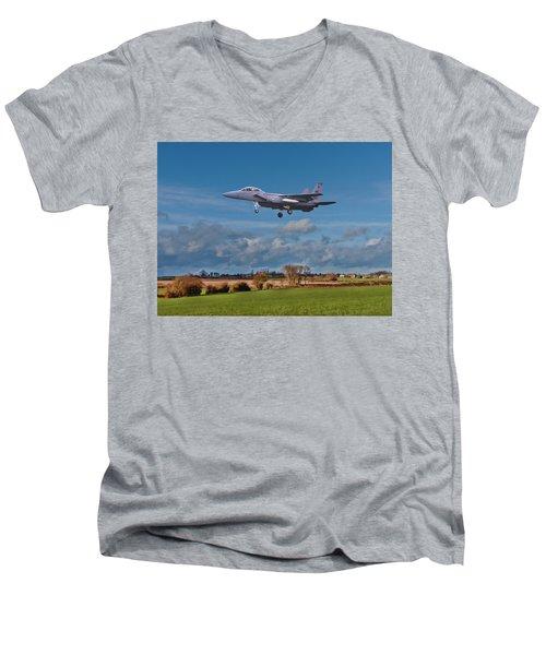 Eagle On Finals Men's V-Neck T-Shirt by Paul Gulliver