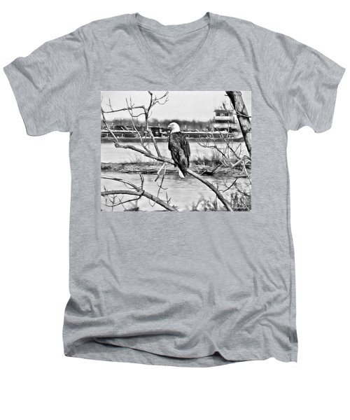 Eagle On The Illinois River Men's V-Neck T-Shirt by John Freidenberg