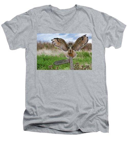Eagle Owl On Signpost Men's V-Neck T-Shirt