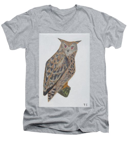 Eagle Owl Men's V-Neck T-Shirt by Tamara Savchenko