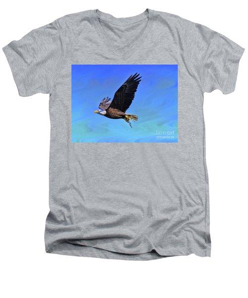 Men's V-Neck T-Shirt featuring the photograph Eagle Series Success by Deborah Benoit