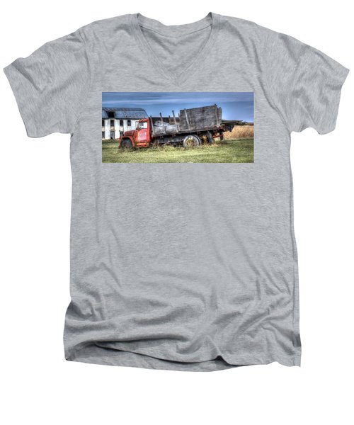 Men's V-Neck T-Shirt featuring the photograph Earl Latsha Lumber Company - Version 1 by Shelley Neff