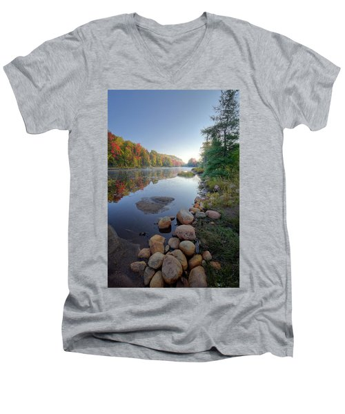 Men's V-Neck T-Shirt featuring the photograph Early Color On Bald Mountain Pond by David Patterson