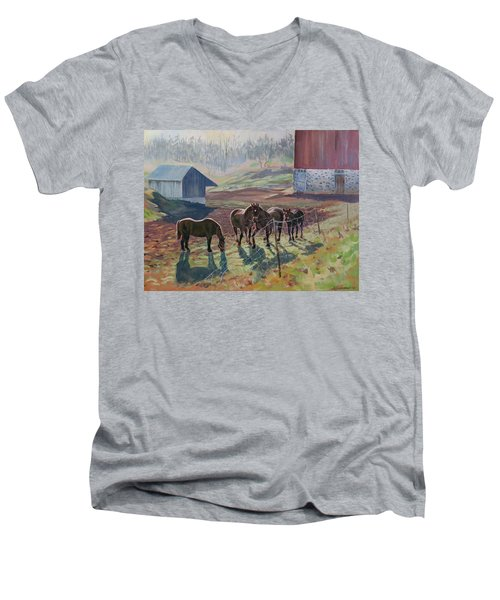 Early December At The Farm Men's V-Neck T-Shirt by David Gilmore