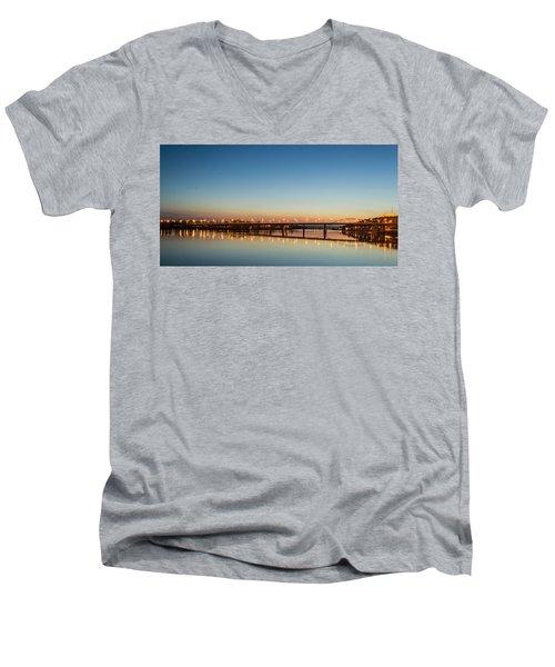 Early Evening Bridge At Sunset Men's V-Neck T-Shirt
